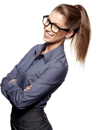 Portrait of a beautiful young woman wearing glasses  Stock Photo - 16854781
