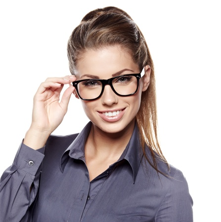 copyspace corporate: Cute young business woman with glasses  Stock Photo