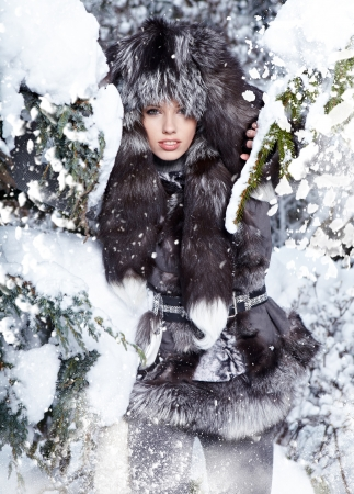 Young woman winter portrait  Shallow dof   Stock Photo - 16890678