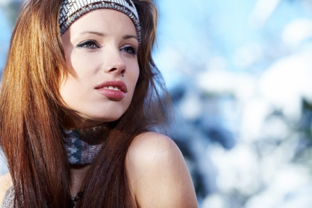 Young woman winter portrait  Shallow dof   Stock Photo - 16890671