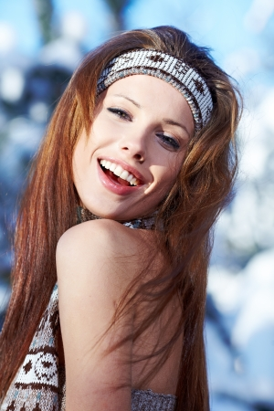 Young woman winter portrait  Shallow dof Stock Photo - 16890674