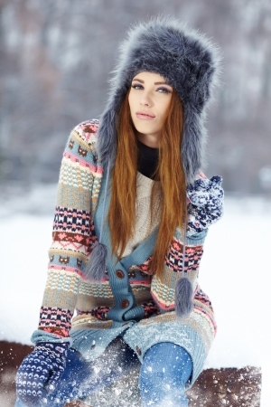Young woman winter portrait  Shallow dof   photo