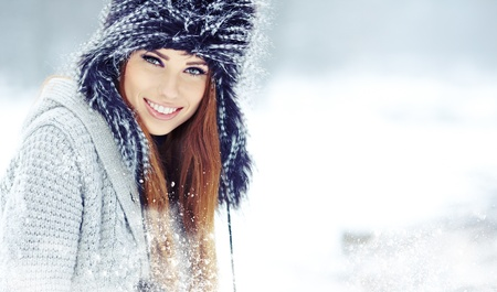 winter clothes: Beautiful brunette  hair girl i winter clothes