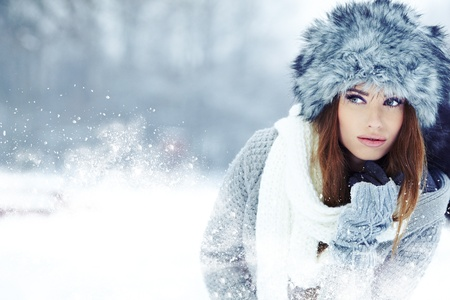 WInter woman portrait outdoor  Stock Photo