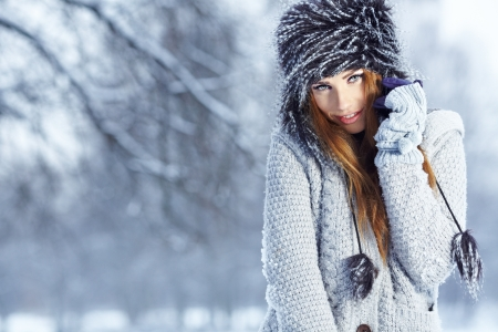 Beautiful brunette  hair girl i winter clothes  photo