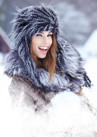 Young woman winter portrait  Shallow dof Stock Photo - 17130083