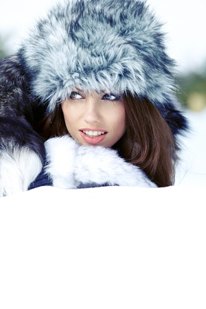 Young woman winter portrait  Shallow dof   Stock Photo - 17076319