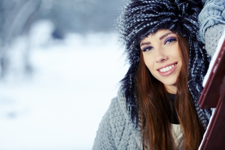 Young woman winter portrait  Shallow dof Stock Photo - 17130160