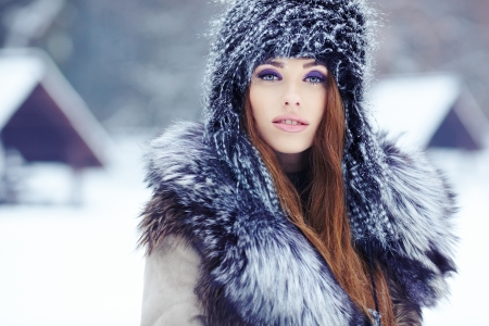a beauty girl on the winter background Stock Photo - 17130165