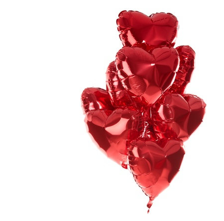 Happy birthday balloons heart love party decoration red   Valentines day   Stock Photo