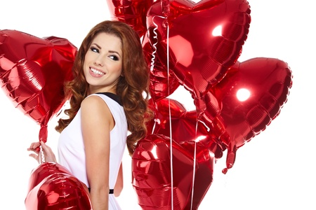 woman with red heart balloon Stock Photo - 17255314