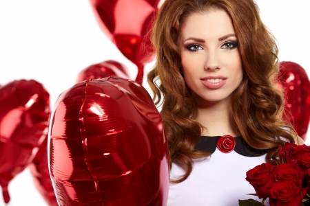 woman with red heart balloon Stock Photo - 17255308