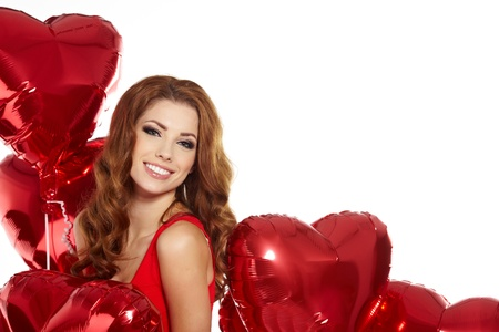 woman with red heart balloon  Stock Photo - 17255305