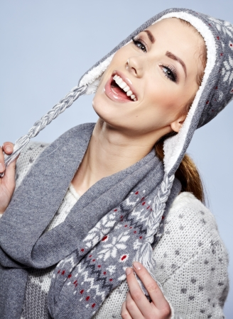 beautiful woman in warm clothing photo