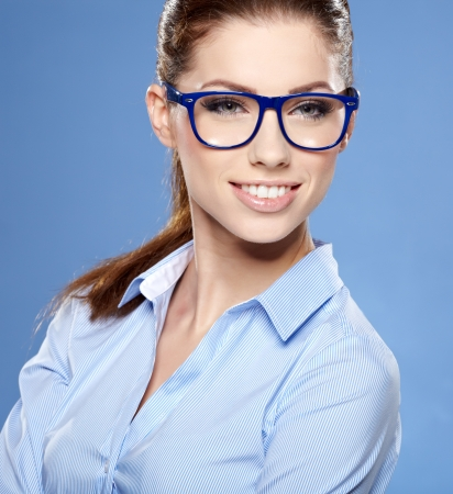Portrait of happy smiling business woman in glasses Stock Photo - 17221122