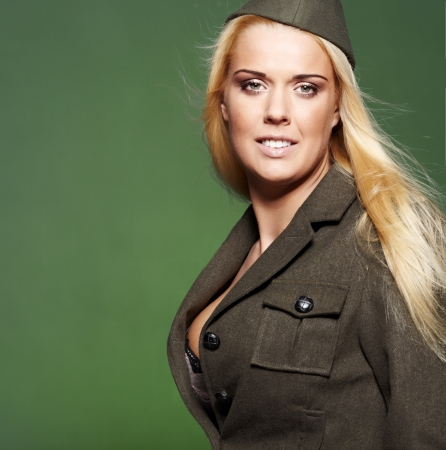 army girl: Beautiful woman  in military clothes