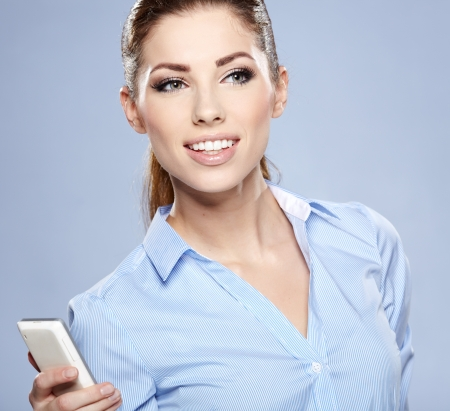 Happy woman phone talking. Face with toothy smile Stock Photo - 17342813