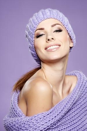 beautiful woman  in warm clothing photo