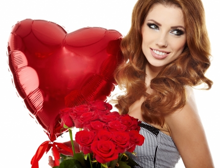 Beautiful female holding red roses bouquet, valentines day Stock Photo - 17342838