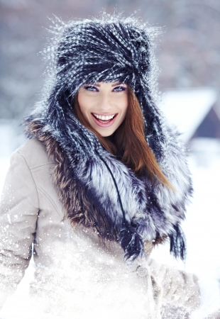 beautiful girl in the park in winter  Stock Photo - 17383624