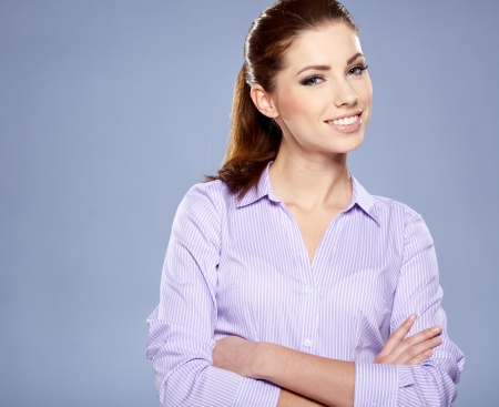Portrait of happy smiling business woman in glasses Stock Photo - 17383590
