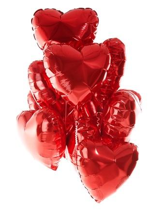 helium balloon: Happy birthday balloons heart love party decoration red   Valentines day   Stock Photo