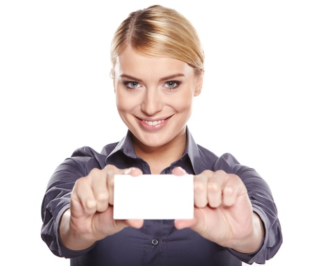 trade credit: Businesswoman holding credit card. Isolated on white  Stock Photo