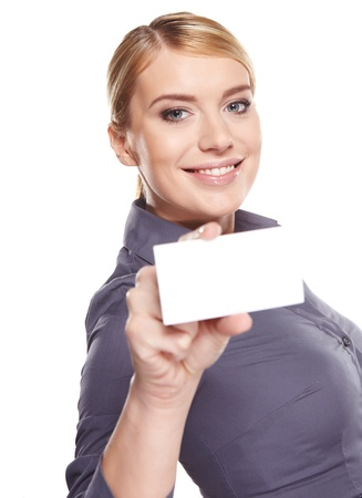 Businesswoman holding credit card. Isolated on white Stock Photo - 17417762
