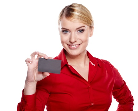 Businesswoman holding credit card. Isolated on white  Stock Photo - 17417839