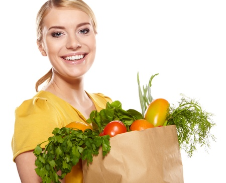 full filled: Young woman with a grocery shopping bag  Isolated on white background