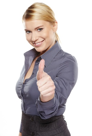 Happy smiling business woman with ok hand sign  Stock Photo - 17471751