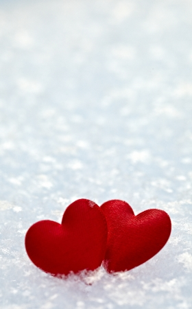 two hearts: Two hearts in the snow