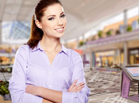 trade show:  businesswoman owner opening a new retail store  Stock Photo