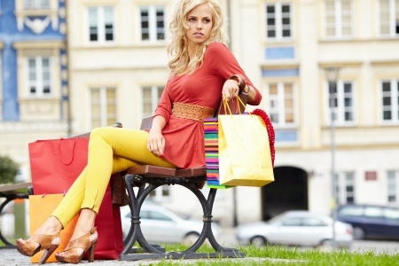 shopping woman in city Stock Photo - 17601127