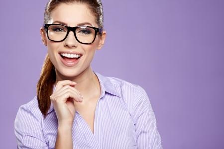 sexy secretary: Mujer linda empresa joven con gafas