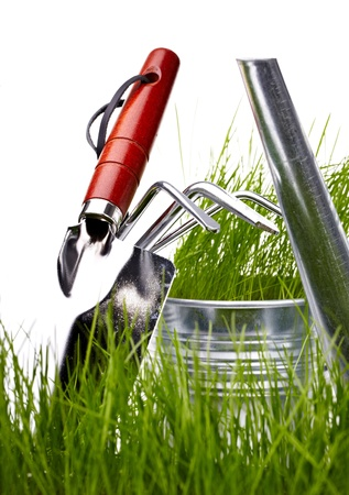 Garden tools and watering can with grass on white  photo