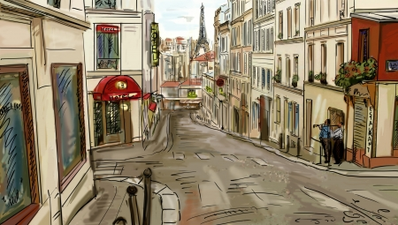 map pencil: Street in paris - illustration