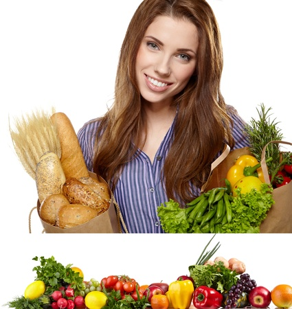 Young woman holding a grocery bag full of food  Vegetable border bonus photo