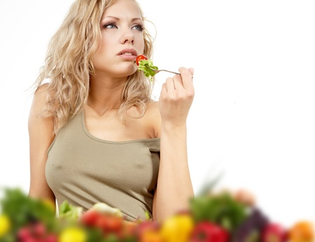 1 woman only: The young beautiful woman with the fresh vegetables