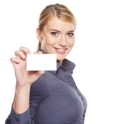 credit card purchase: Businesswoman holding credit card  Isolated on white Stock Photo