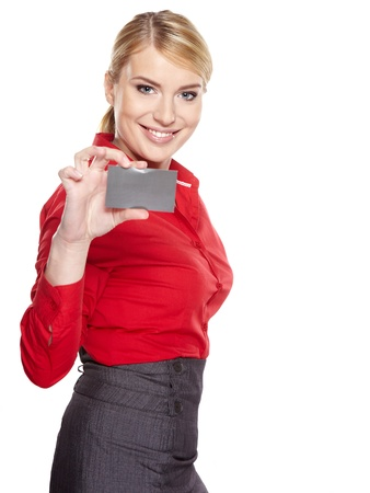 Businesswoman holding credit card  Isolated on white Stock Photo - 18285475