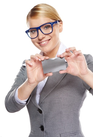 debet: Businesswoman holding credit card  Isolated on white Stock Photo