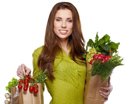 bargain: Healthy shopping, Isolated, white background  Stock Photo
