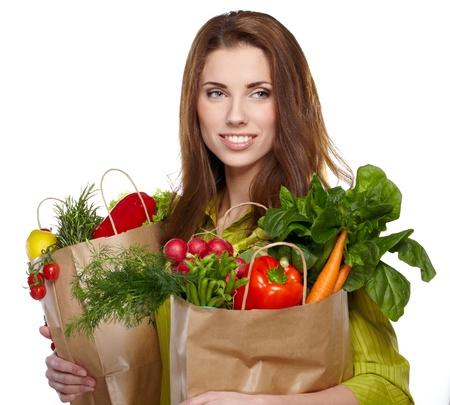 Healthy shopping, Isolated, white background  Stock Photo