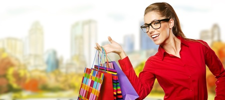 Woman with Shopping Bags, outdoors