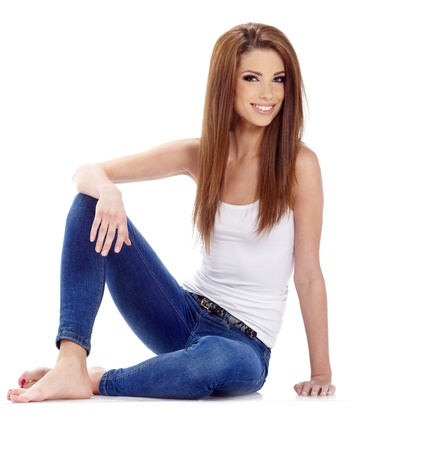 Sexy girl in blue jeans  photo