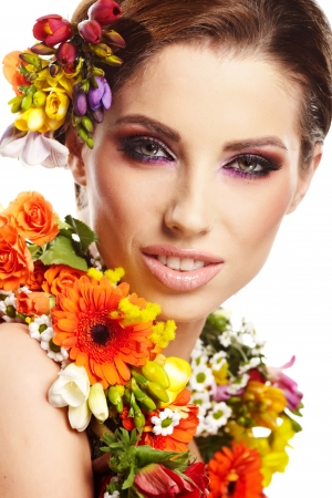 Woman with flower hairstyle photo