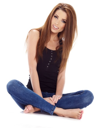 foot model: Sexy girl in blue jeans