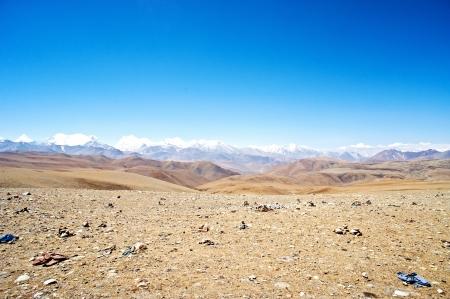 yellowish mountain road view in tibet photo
