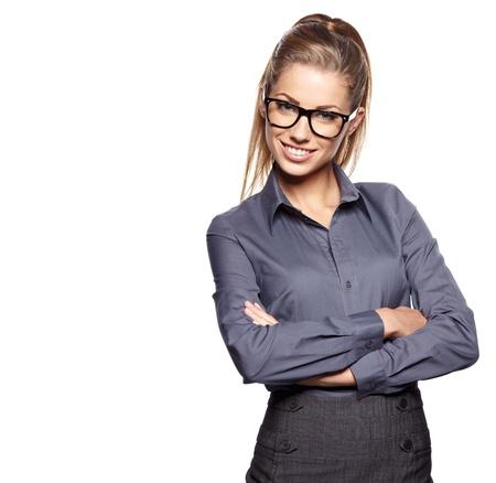 zakenvrouw in glazen Stockfoto